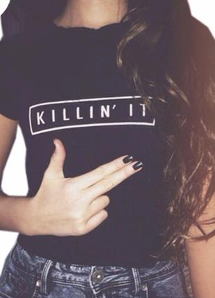 Чёрная короткая футболка топ killin it