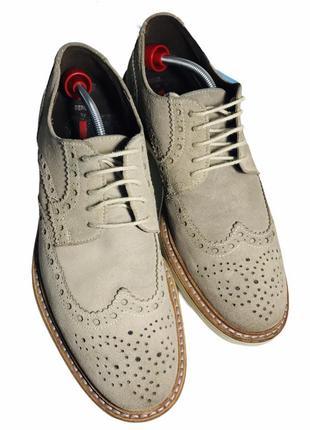 Замшевые туфли оксфорды броги 42