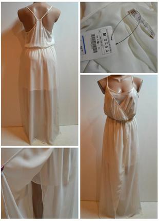 Шикарное, белое, длинное платье zara размер м