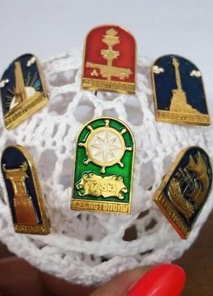 Набор винтажных брошей-значков (ссср)-6 шт. с изображением города-героя севастополя