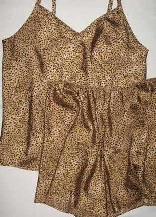 16-18 секси элегантная сатиновая пижамка комплект для сна с шортиками marks & spencer