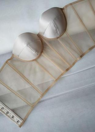 Трендовый прозрачный корсет с бежевым чашками