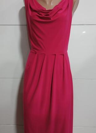 Платье, летнее, на полную женщину, малиновое, стрейчевое, без рукавов., удлиненное.