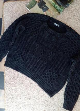 Miss poch актуальный укороченный свитер оверсайз рельефной вязки