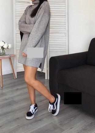 Теплое платье свитер туника на флисе