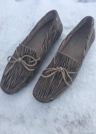 Туфельки кожа мокасины хендмейд