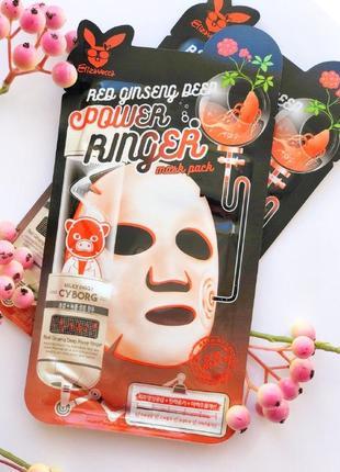 Омолаживающая тканевая маска для лица elizavecca red ginseng deep power ringer mask pack