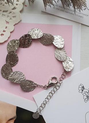 Стильный серебряный браслет, италия