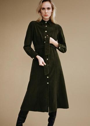 Zara хаки платье из вельвета миди с поясом , m