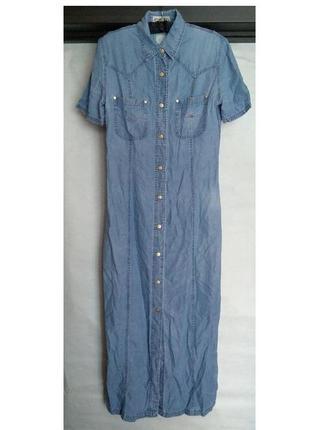 Джинсовое платье миди на кнопках р 40 l платье деним италия