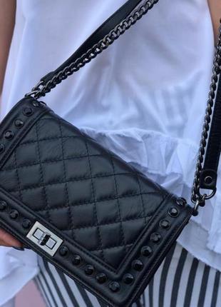 Женская кожаная сумка в стиле сhаnеl итальянская кожаная сумка