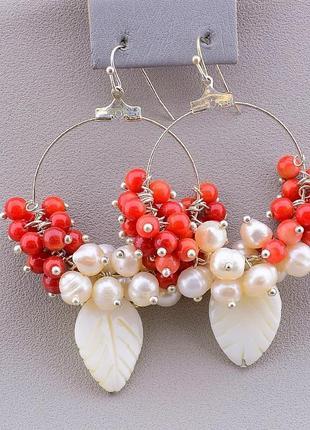 Серьги коралл, перламутр, жемчуг 15992