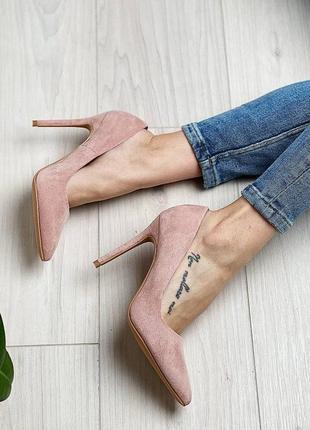 Туфли лодочки цвета пудры на высоком каблуке