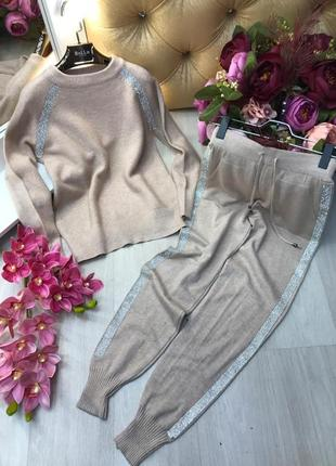 Кашемировый костюм свитшот и брюки