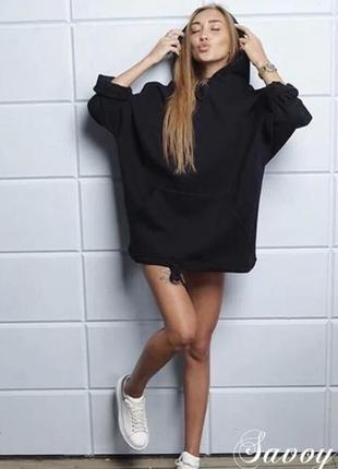 Платье тёплое на флисе туника удлиненный свитер кофта худи новинка