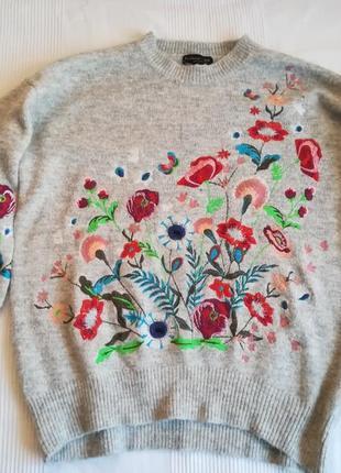 Свитер с вышивкой,светр квітковий,кофта нарядна,светр оверсайз,джемпер
