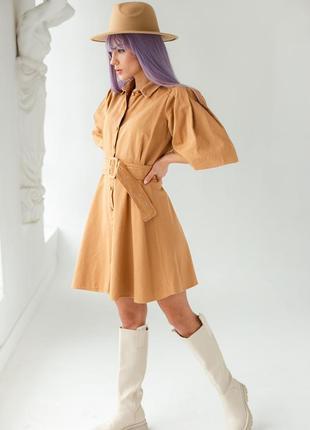 Котоновое платье с рукавами-фонариками и поясом