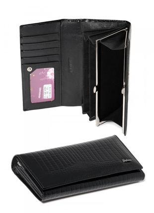Кожаный черный лаковый женский кошелек