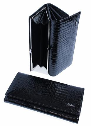 Черный лаковый кожаный женский кошелек
