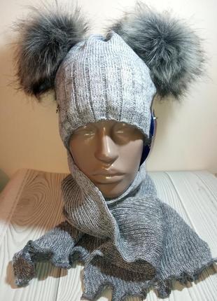 Распродажа шапка шарф зимний комплект набор с бубонами бомбонами помпонами agbo