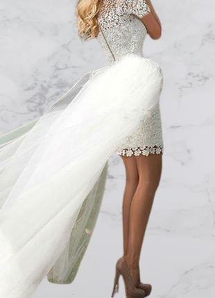 Cвадебное кружевное платье трансформер с отстегивающейся юбкой,коротким рукавом