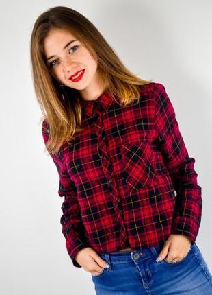 Укороченная рубашка в красно-синюю клетку h&m