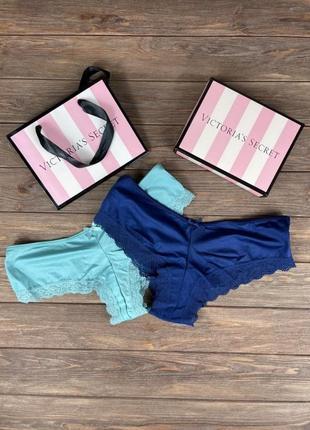 Набор женских трусов victoria's secret model  синие и голубые подарок на 8 марта