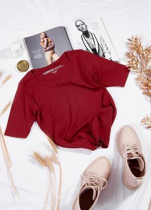 Базовая футболка бордовая, однотонная футболка женская, хлопковая футболка под пиджак