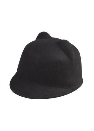 Новая шерстяная шляпа с ушками, жокейка, кеппи 100% шерсть4 фото