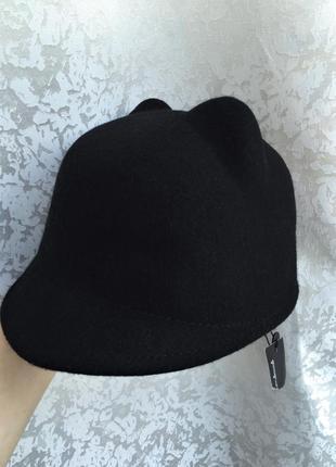 Новая шерстяная шляпа с ушками, жокейка, кеппи 100% шерсть7 фото