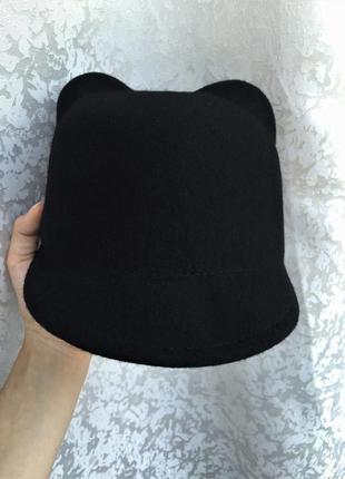 Новая шерстяная шляпа с ушками, жокейка, кеппи 100% шерсть3 фото