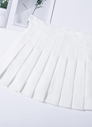 Миниюбка белая плиссированная3 фото