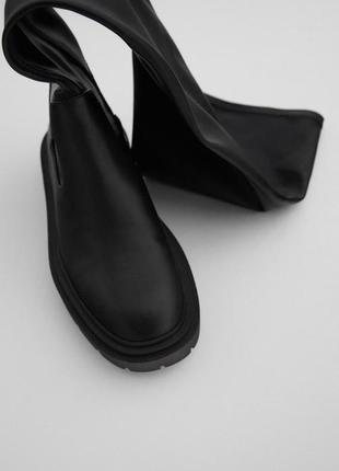 Чёрные сапожки чулки zara ботфорты оригинал зара под заказ3 фото