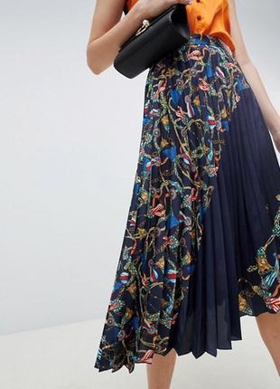Миди юбка mango  темно-синяя в рисунок цепи