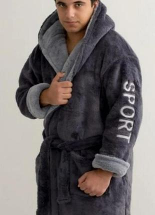 Теплый махровый халат мужской