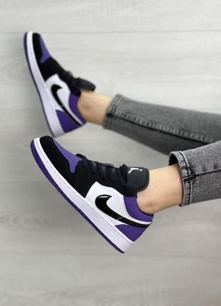 Женские кроссовки air jordan 1 low purple6 фото