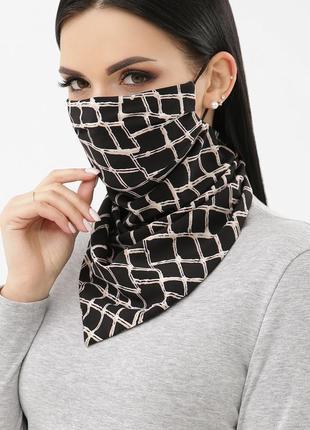 Стильная и удобная маска-платок, узор сетка.