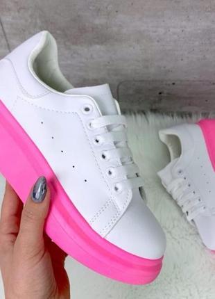 Кеды белые с розовой подошвой