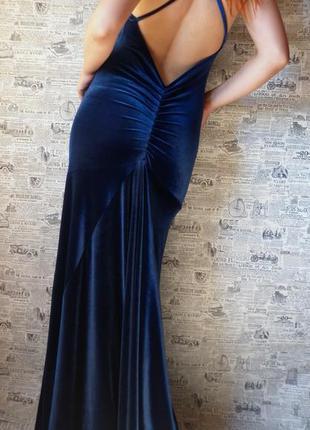 Шикарное, бархатное, вечернее платье в пол