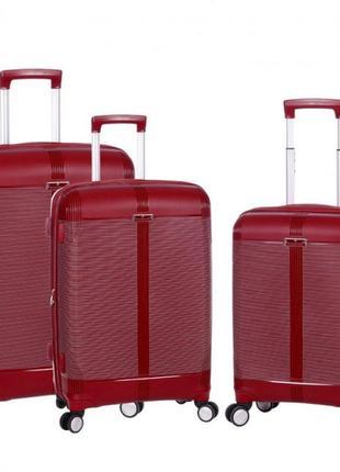 Дорожный чемодан из полипропилена airtex 91303 3 размера красный