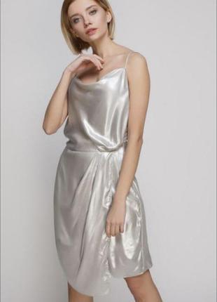 Платье комбинация бельевом стиле металлик сатинова на бретелях вечірня сукня
