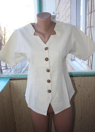 Оригинальная натуральная блуза с деревянными пуговицами