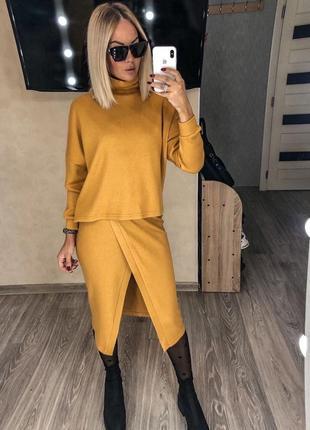 Костюм🍁 свитер юбка ангора  тёплый1 фото