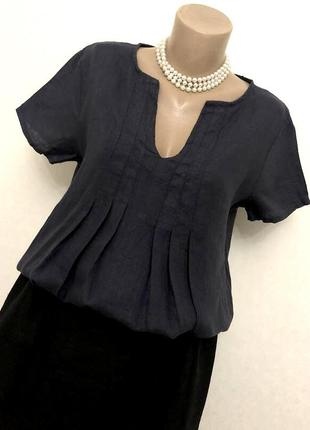 Синяя,лён блуза,рубаха,этно бохо стиль,италия
