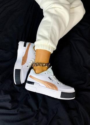 Женские кроссовки puma cali sport white/gold