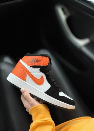 🌼🖤🧡nike jordan orange black white🧡🖤🌼кроссовки джорданы женские найк