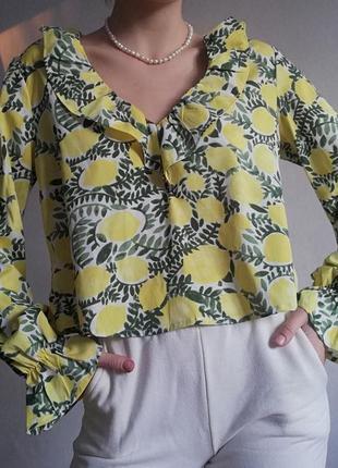 Летняя новая блуза блузка с лимонами