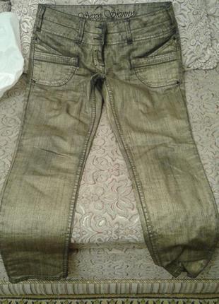 Золотистые джинсы , очень крутые 46-48размер
