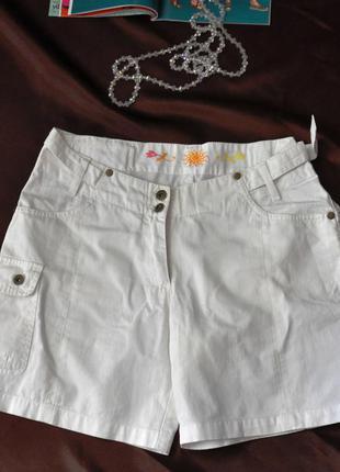 Белые короткие шорты h&m, 100% коттон, 44 размер