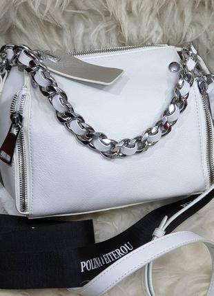 Женская кожаная белая сумка polina eiterou